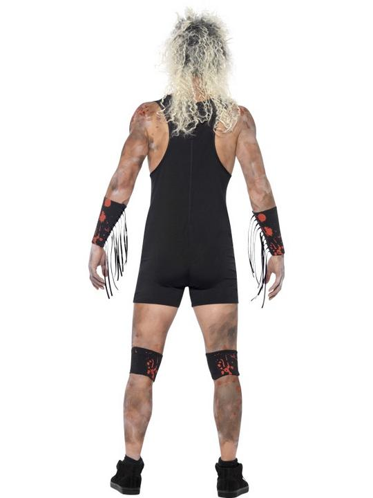 Adult WWF Walking Dead Zombie Wrestler Mens Halloween Fancy Dress Costume Outfit Thumbnail 2