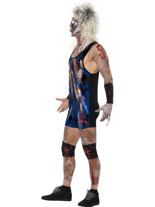 Adult WWF Walking Dead Zombie Wrestler Mens Halloween Fancy Dress Costume Outfit Thumbnail 3