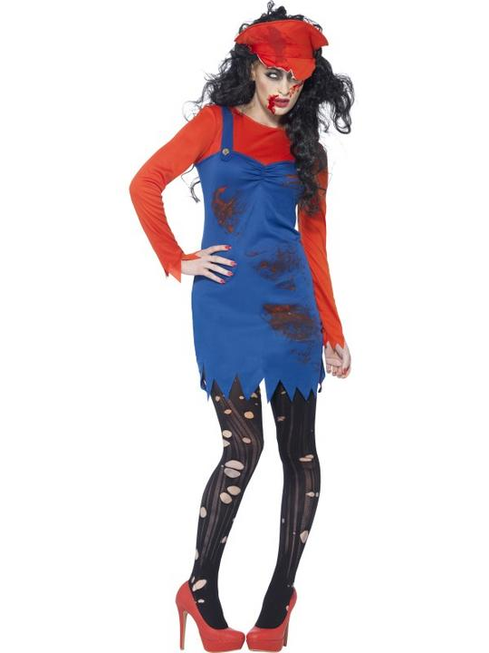 SALE Adult Dead Zombie Plumber Ladies Halloween Party Fancy Dress Costume Outfit Thumbnail 1