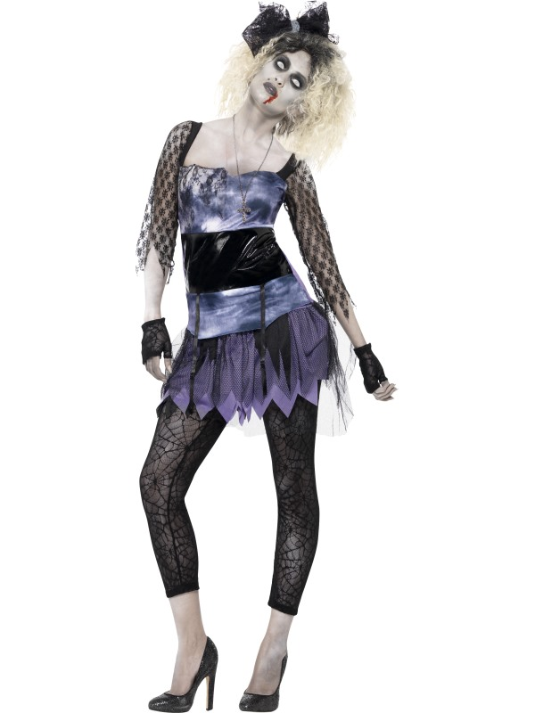 Adult Zombie Madonna 80s Wild Child Ladies Halloween Party Fancy Dress Costume