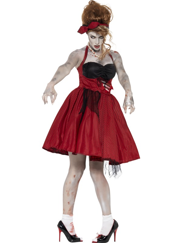 Adult 50's Rockabilly Zombie Ladies Halloween Party Fancy Dress Costume Outfit Thumbnail 1