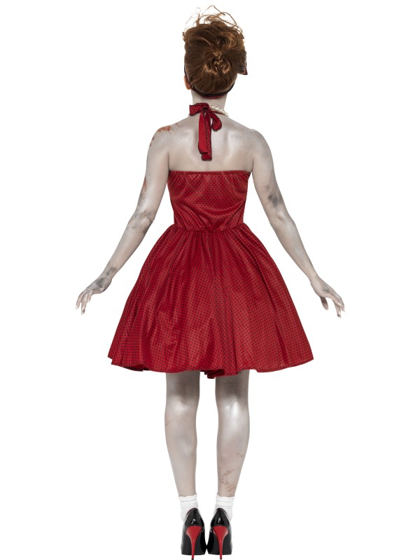 Adult 50's Rockabilly Zombie Ladies Halloween Party Fancy Dress Costume Outfit Thumbnail 2