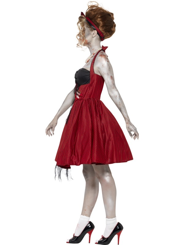 Adult 50's Rockabilly Zombie Ladies Halloween Party Fancy Dress Costume Outfit Thumbnail 3