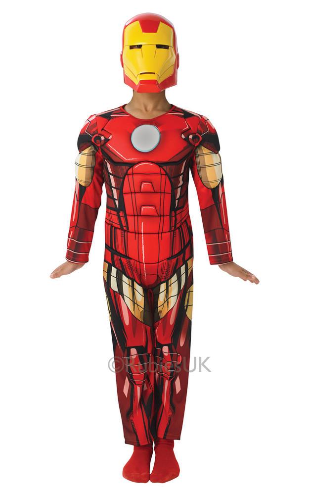 Kids Deluxe Marvel Avengers Superhero Iron Man Boys Fancy Dress Childs Costume