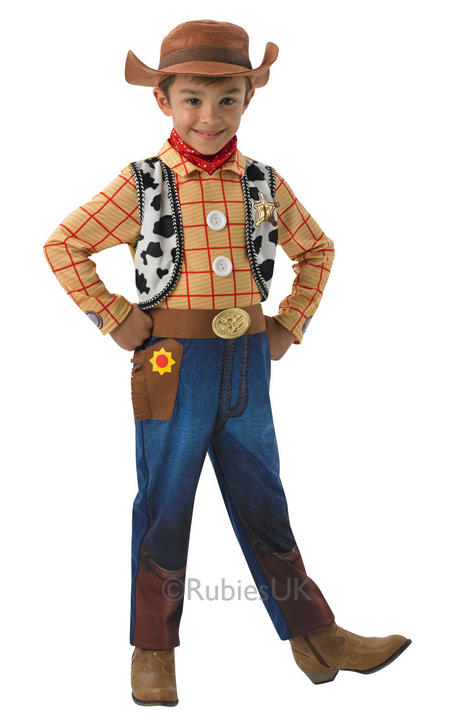 Kids Disney Deluxe Toy Story Cowboy Woody Boys Fancy Dress Childs Costume & Hat Thumbnail 1