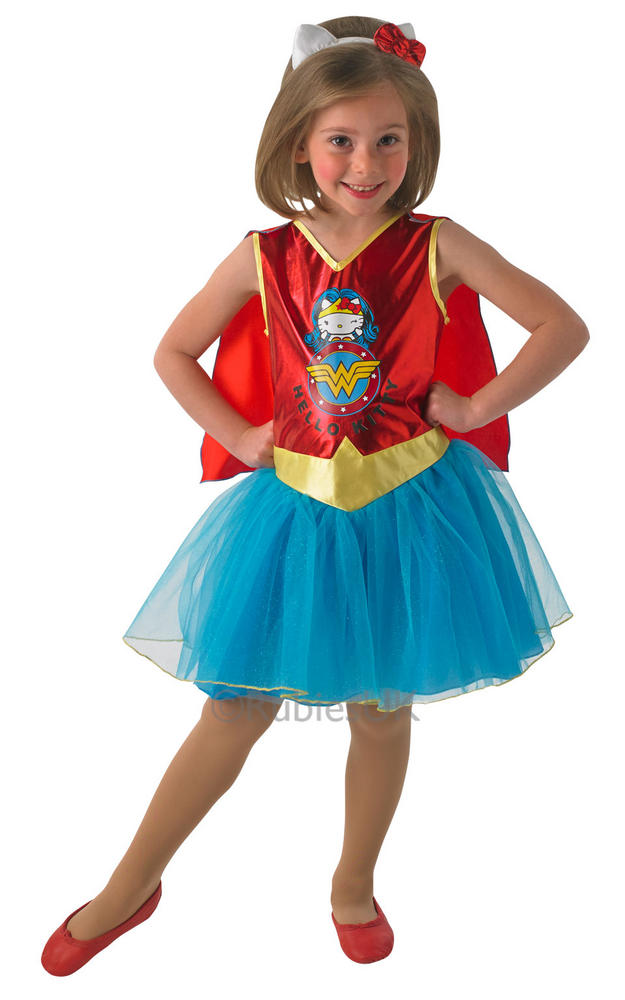 Kids Hello Kitty Superhero Wonder Woman Girls Fancy Dress Childs Costume Outfit
