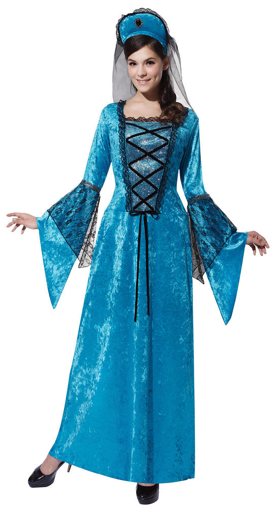 SALE! Adult Medieval Blue Royal Princess Ladies Fancy Dress Costume Outfit