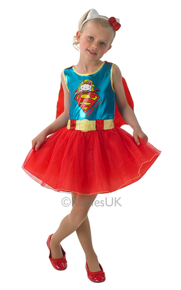 Kids Hello Kitty Superhero Supergirl Girls Fancy Dress Childs Costume Outfit