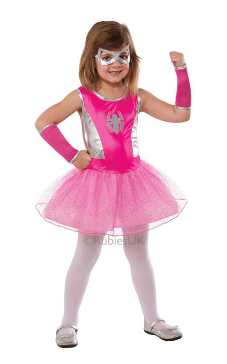Kids Superhero Pink Spidergirl Girls Fancy Dress Childs Costume Party Outfit  Thumbnail 1