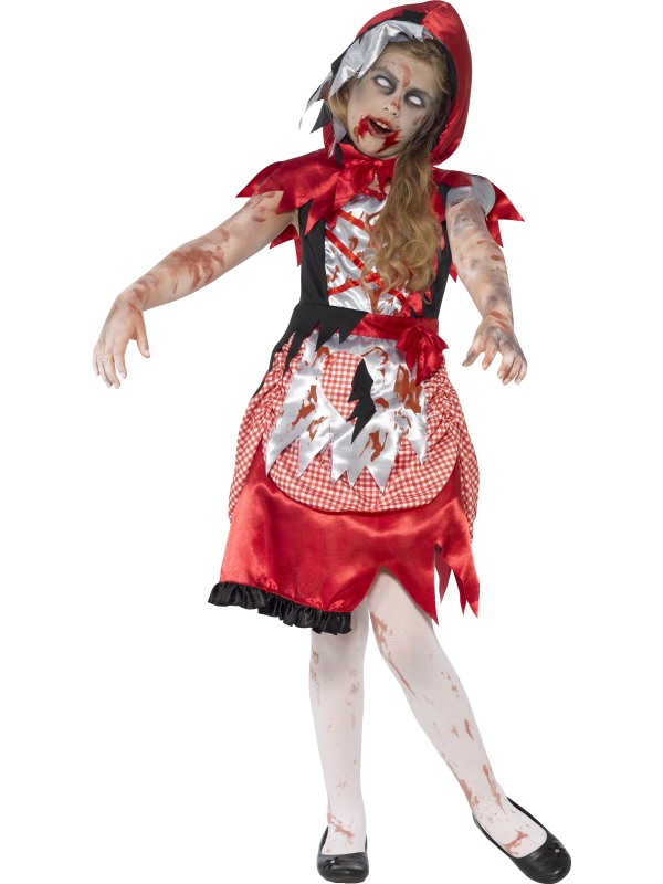 SALE Kids Zombie Miss Red Hood Girls Halloween Fancy Dress Childs Costume Outfit