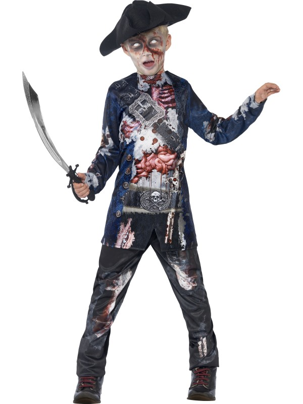 Kids Deluxe Jolly Rotten Zombie Pirate Boys Halloween Fancy Dress Childs Costume