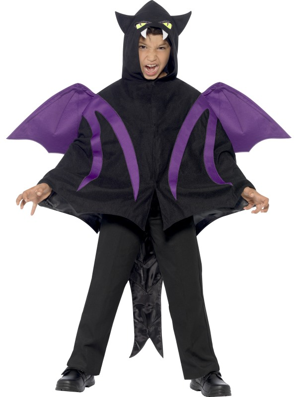 Kids Hooded Dragon Creature Cape Boys Halloween Party Fancy Dress Childs Costume
