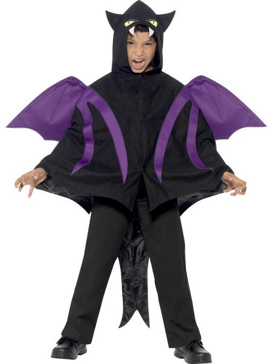 Kids Hooded Dragon Creature Cape Boys Halloween Party Fancy Dress Childs Costume Thumbnail 1