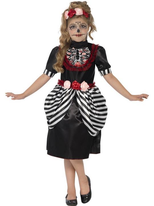 SALE Kids Day Of The Dead Sugar Skull Girls Halloween Fancy Dress Childs Costume Thumbnail 1