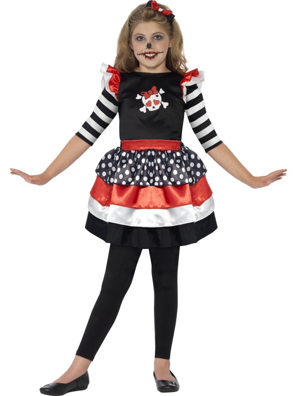 SALE Kids Cute Skully Skeleton Girls Halloween Fancy Dress Childs Costume Outfit