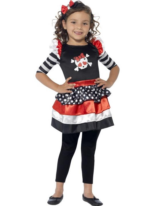 SALE Kids Cute Skully Skeleton Girls Halloween Fancy Dress Childs Costume Outfit Thumbnail 2