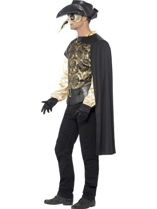 Adult Black Death Plague Doctor Mens Halloween Party Fancy Dress Costume Outfit Thumbnail 3