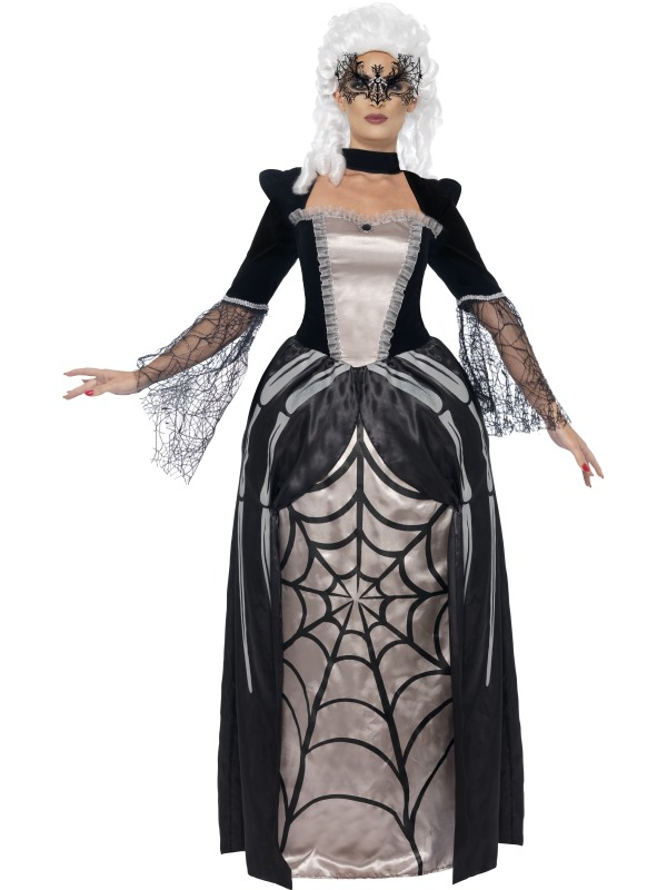 Adult Black Widow Spider Baroness Ladies Halloween Fancy Dress Costume Outfit