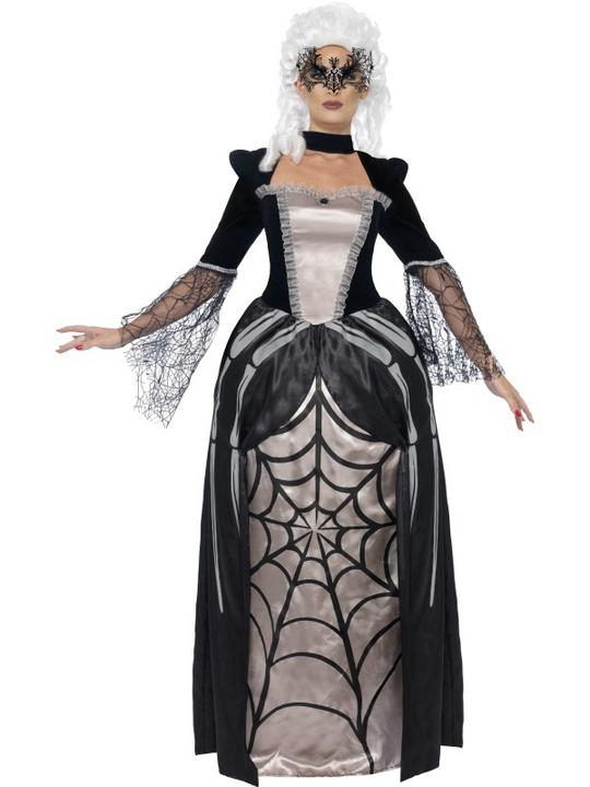 Adult Black Widow Spider Baroness Ladies Halloween Fancy Dress Costume Outfit Thumbnail 1