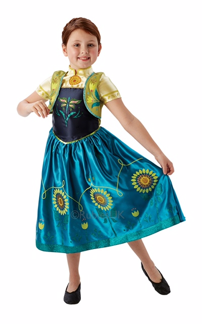 Kids Disney Frozen Fever Princess Anna Girls Fancy Dress Childs Costume Outfit Thumbnail 1