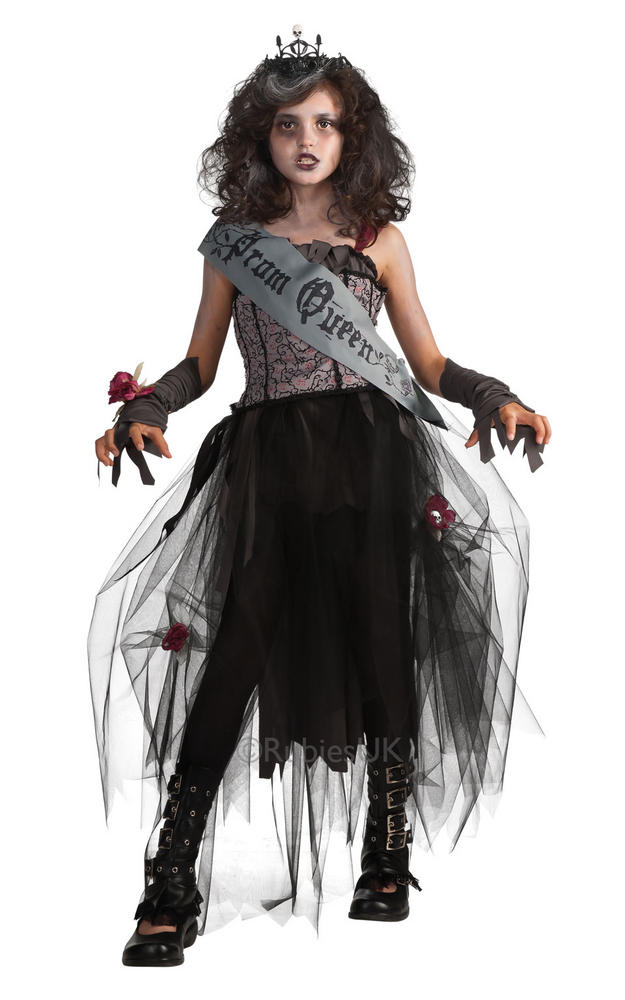 Girls Goth Prom Queen Fancy Dress Halloween Costume Spooky Kids Outfit