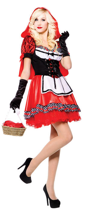 Beautiful Sexy Little Miss Red Riding Hood Ladies Fancy Dress Costume Outfit Thumbnail 1