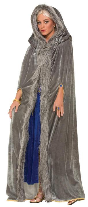 Adult Faux Fur Trimmed Grey Cape Thumbnail 1