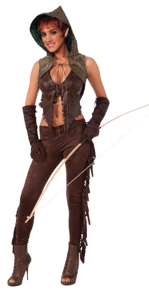 Sexy Medieval Elf Hunter Ladies Fancy Dress Costume Hen Party Outfit Size 10-14