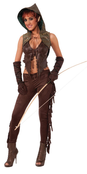 Sexy Medieval Elf Hunter Ladies Fancy Dress Costume Hen Party Outfit Size 10-14 Thumbnail 1