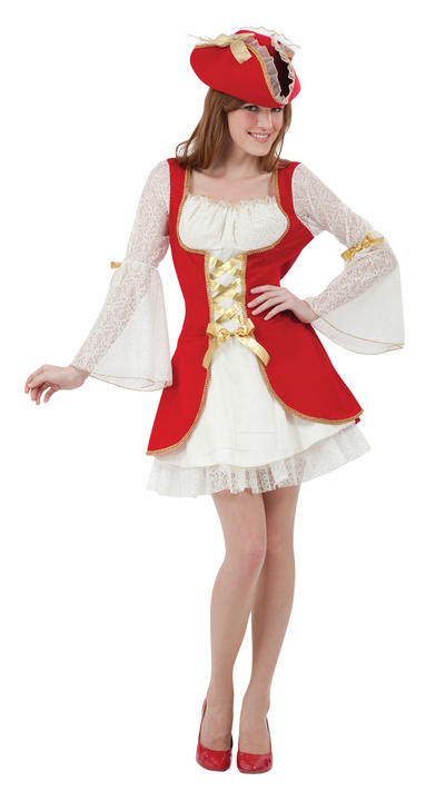 Adult Womens Red Pirate Costume Thumbnail 1