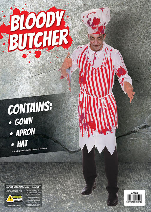 SALE Adult Walking Dead Zombie Butcher Mens Halloween Fancy Dress Costume Outfit Thumbnail 2