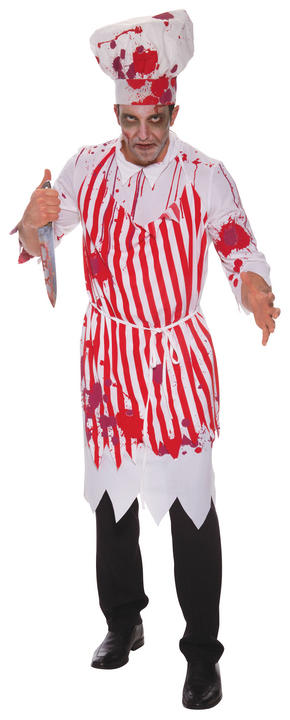 SALE Adult Walking Dead Zombie Butcher Mens Halloween Fancy Dress Costume Outfit Thumbnail 1