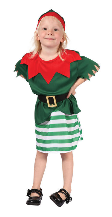 Santa Helper Girl Toddler Fancy Dress Costume Thumbnail 1