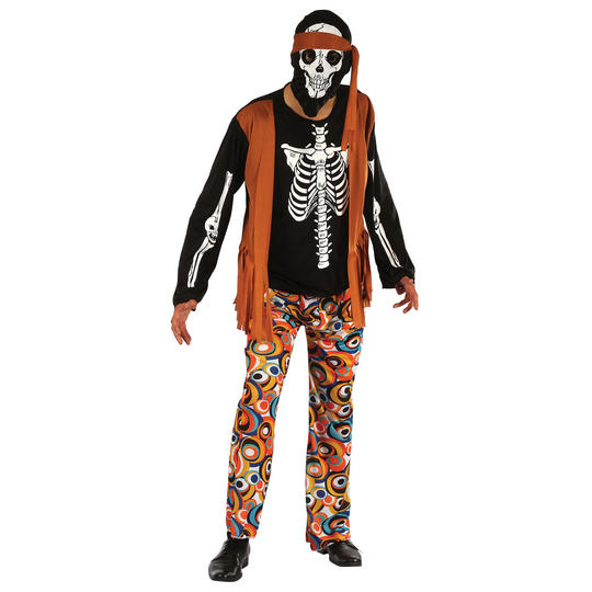 Adult 60s 70s Wlaking Dead Skeleton Hippy Mens Halloween Fancy Dress Costume Thumbnail 1