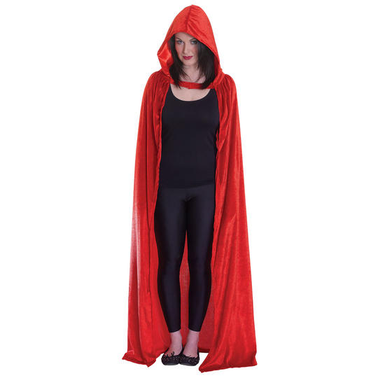 Velvet Red Hooded Cloak Thumbnail 1