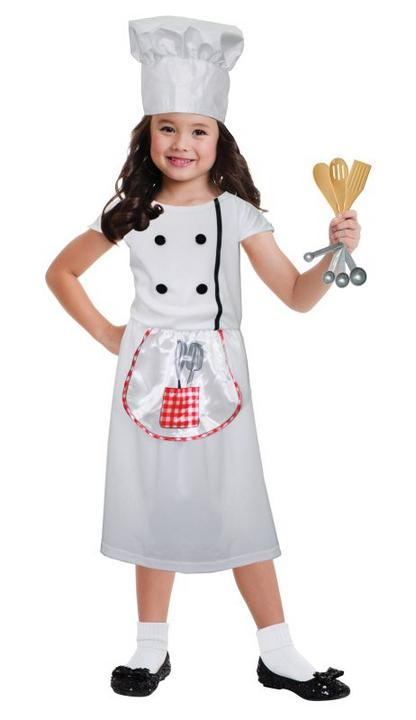 Girls Chef  Fancy Dress Costume Thumbnail 1