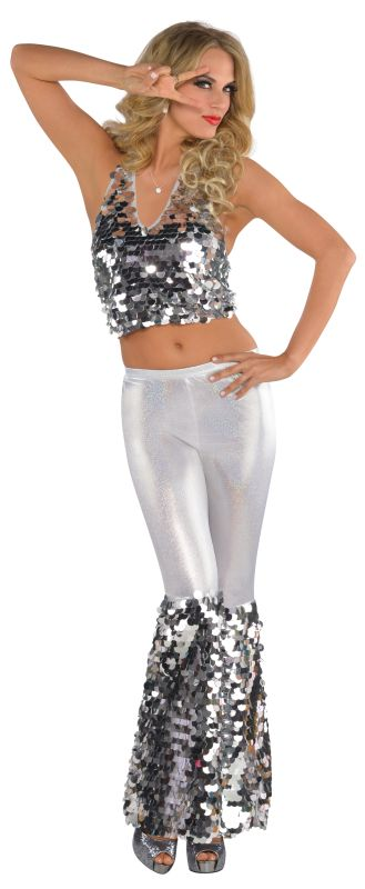 Disco Fever Diva Costume Ladies 70's Fancy Dress Hen Night Party Adult Outfit