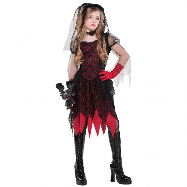 SALE! Kids Deadly Zombie Bride Girls Halloween Fancy Dress Teen Costume Outfit