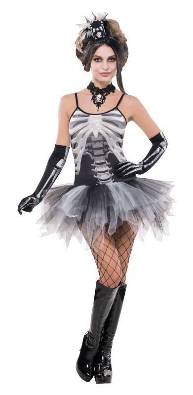 Adult Sexy Black & Bone Skeleton Ladies Halloween Fancy Dress Costume Outfit