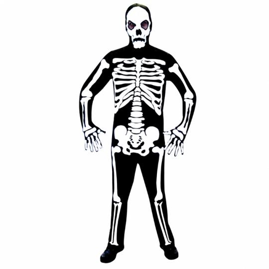 SALE Adult Skeleton Bones Mens Halloween Horror Fancy Dress Costume Party Outfit Thumbnail 1