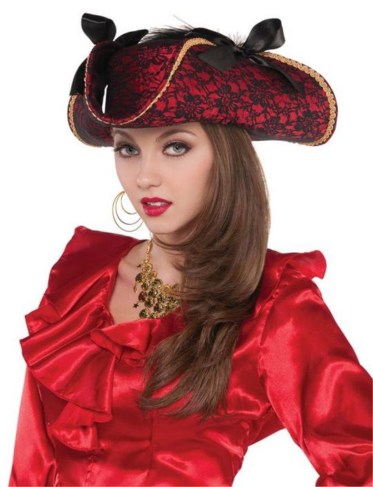 womens  Red Pirate Hat Thumbnail 1