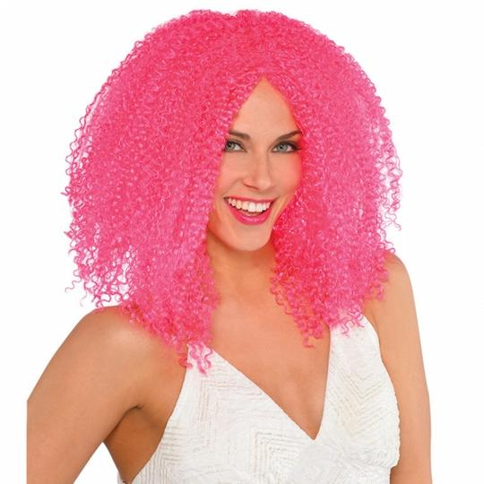 Womens  Pink Crimped Wig Thumbnail 1