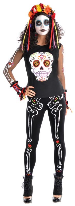 SALE! Adult Mexican Day Of The Dead T-Shirt Ladies Halloween Fancy Dress Costume