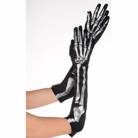 Womens Black and Bone Long Gloves Thumbnail 1
