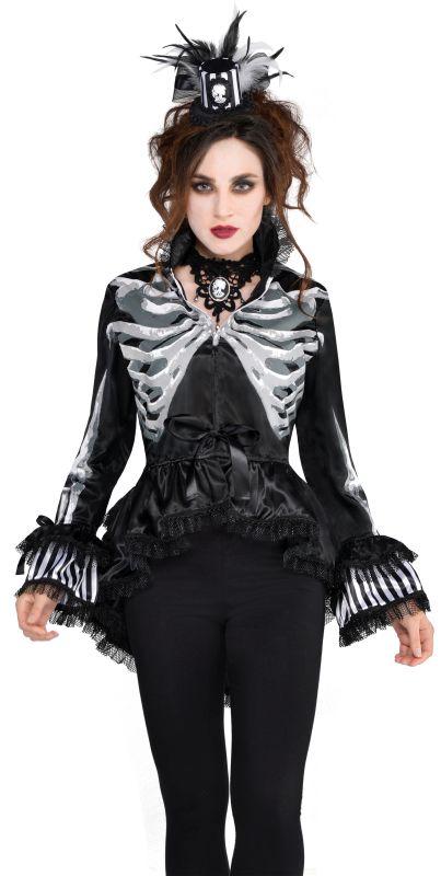 Deluxe Skeleton Bones Jacket Ladies Halloween Party Fancy Dress Costume Outfit