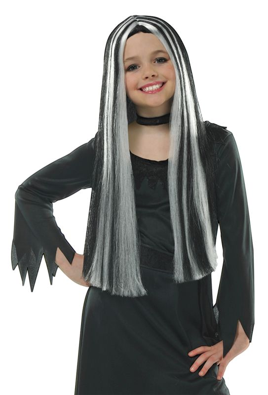 Kids Gray & Black Witch Wig Girls Halloween Party Fancy Dress Costume Accessory