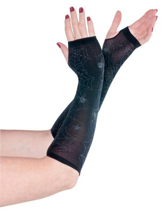 Womens Black Spider Arm Warmers Thumbnail 1