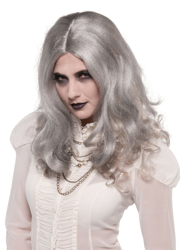 Sexy Walking Dead Zombie Gray Wig Ladies Halloween Fancy Dress Costume Accessory