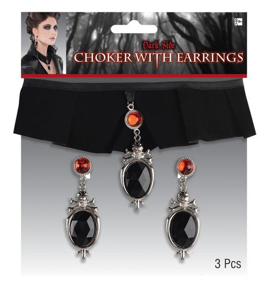 Adult Gothic Velvet Chocker and Earring Set  Thumbnail 1