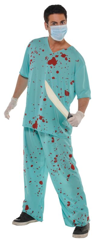 Adult Walking Dead Bloody Scrubs Zombie Mens Halloween Party Fancy Dress Costume